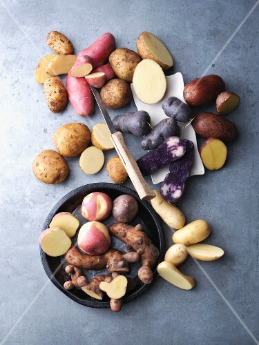 Still life with various varieties of potatoes