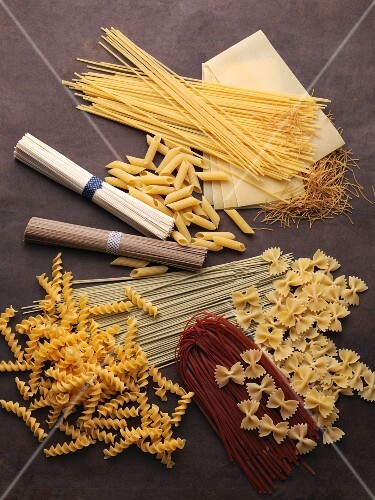 Still life with various types of pasta