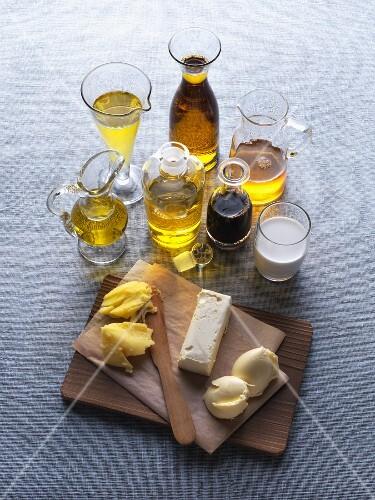 An arrangement of various fats and oils for vegetarians
