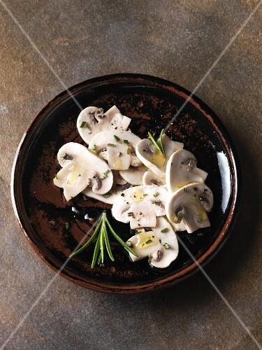 Marinated mushrooms with rosemary