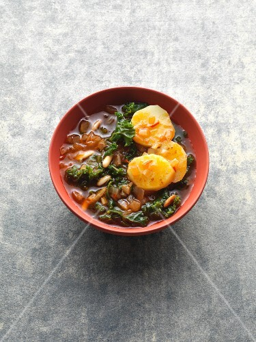 Portuguese kale soup with potatoes and pine nuts