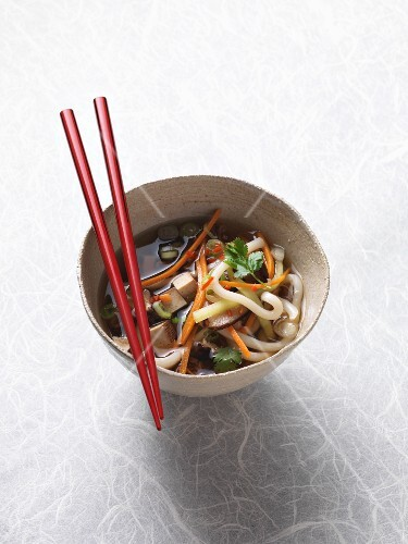 Vegan udon noodle soup with smoked tofu, sake and fresh coriander