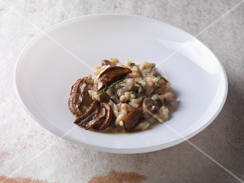 Vegetarian chestnut risotto with fresh porcini mushrooms