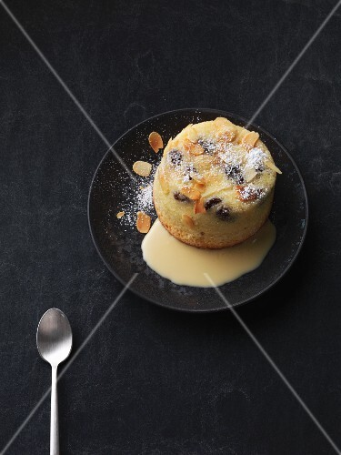 Raisin pudding with mocha and vanilla sauce (Saxony, Germany)