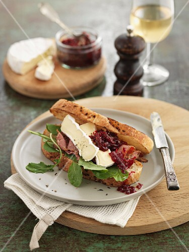 Camembert sandwich and beetroot and oranges pickles