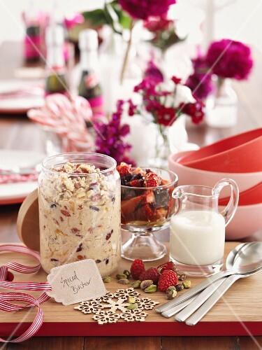 Bircher muesli, berries and milk for Christmas