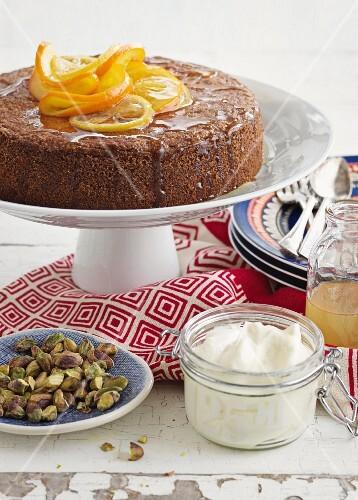 Orange cake with pistachios