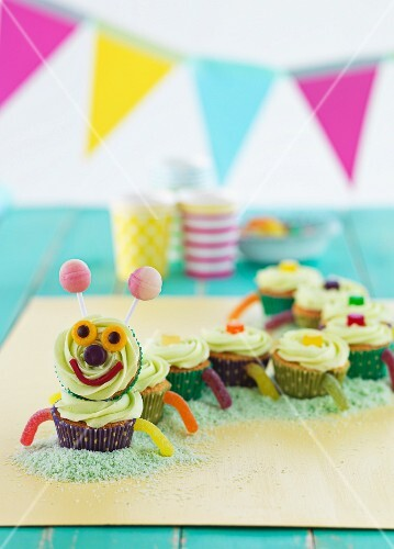 A cupcake caterpillar for a children's party