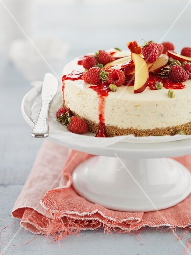 Cheesecake with fruit and pistachios