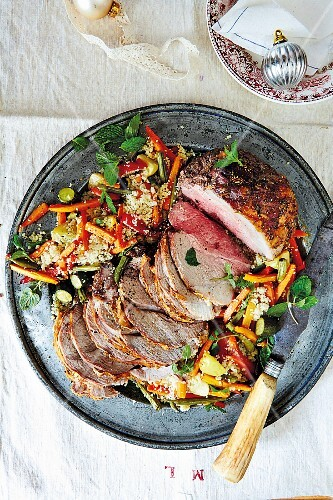 Roast lamb with couscous and vegetables