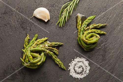 Steamed asparagus