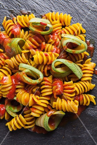Wholemeal pasta and courgette with tomato sauce