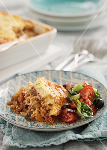 Moussaka made with minced meat and pasta