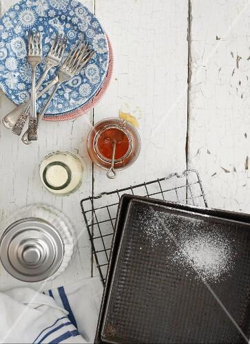 Baking trays, sugar, milk and honey