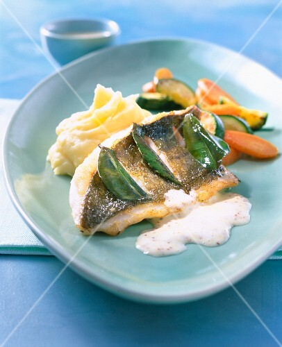 Fried John Dory with mashed potatoes and vegetables