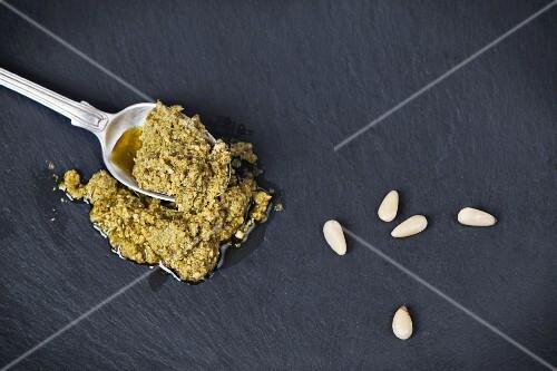 Pesto and pine nuts