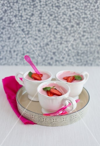 Three cups of strawberry mousse