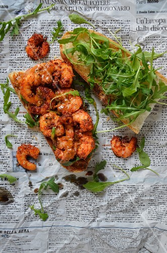 A grilled prawn and rocket sandwich