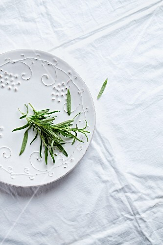 Rosemary on a ceramic plate