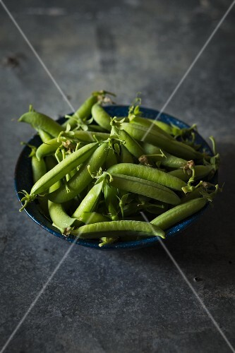 Pea pods in a blue metal bowl