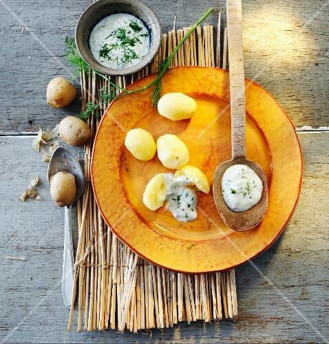 New potatoes with tzatziki