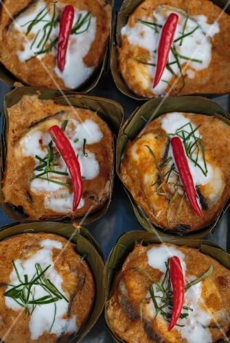 Fish souffles with chillis at a market (Bangkok, Thailand)