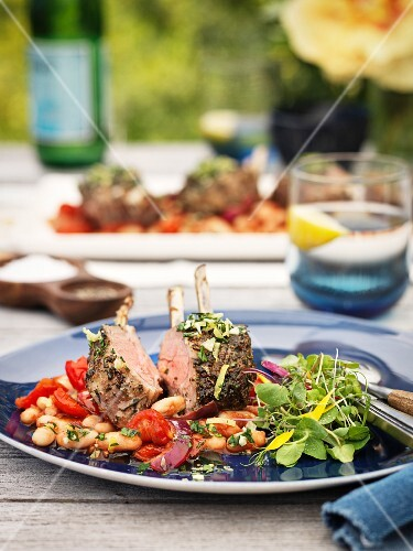 Rack of lamb with white beans and tomatoes
