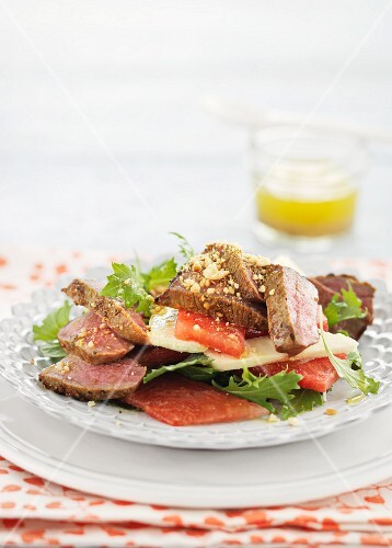 Lamb salad with watermelon