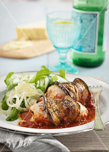 Chicken and aubergine roulade with tomato sauce
