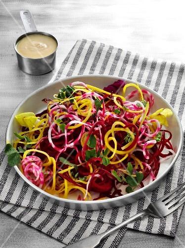 Beetroot and golden beet noodle salad