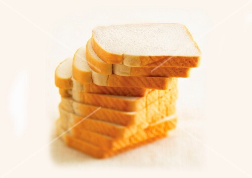 A stack of white bread
