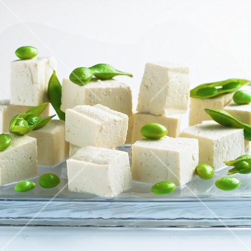 Diced tofu and edmame beans
