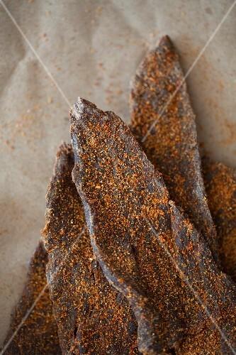 Beef jerky (dried, spiced beef, USA)