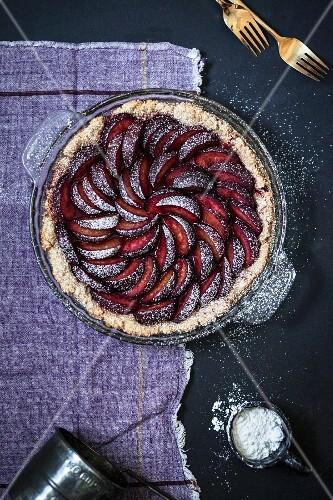 A rustic plum cake