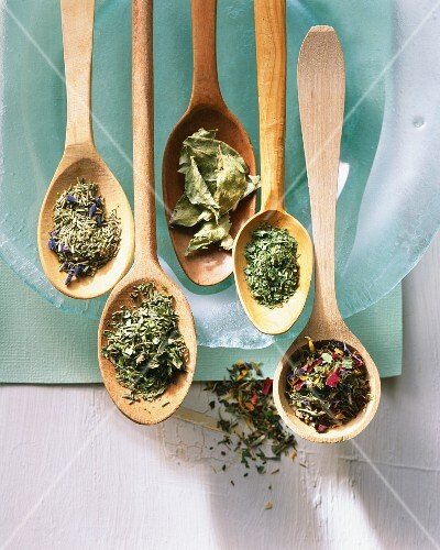 Various dried herbs and loose leaf tea on wooden spoons