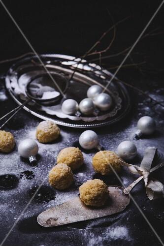 Marzipan balls with sugar for Christmas