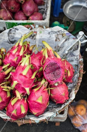Pitahayas at a market in Saigon, Vietnam