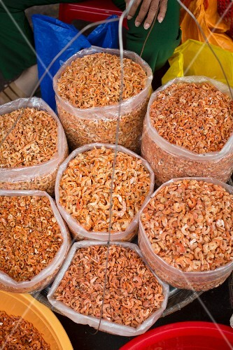 A vendors selling dried prawns in Vietnam