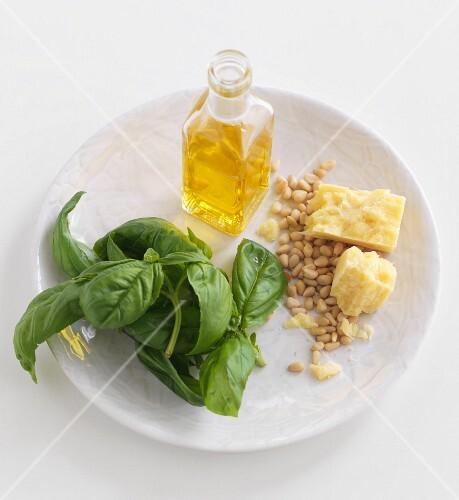 Fresh Ingredients; Basil, Pine Nuts, Olive Oil and Salt