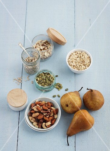 Various nuts, seeds and pears