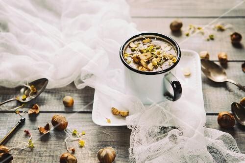 Chestnut mushroom soup with hazelnuts