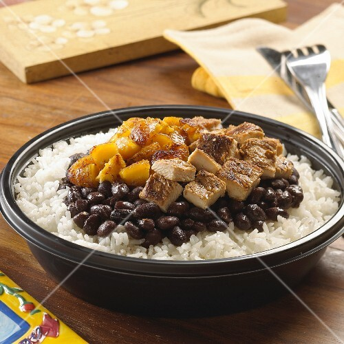 Rice with black beans, chicken and plantains