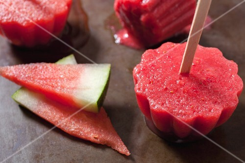 Homemade watermelon and strawberry ice lollies