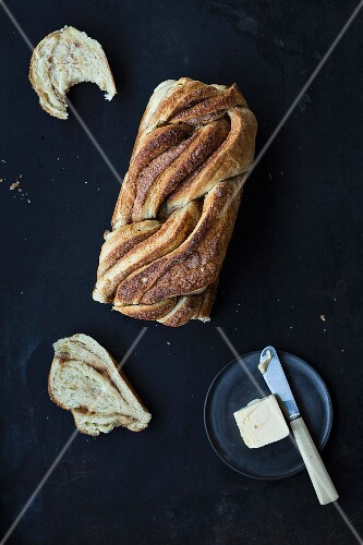 Cinnamon bread with butter (seen from above)