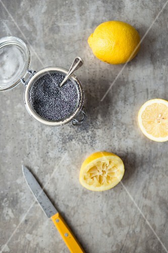 Lemons and poppyseeds in a jar for baking