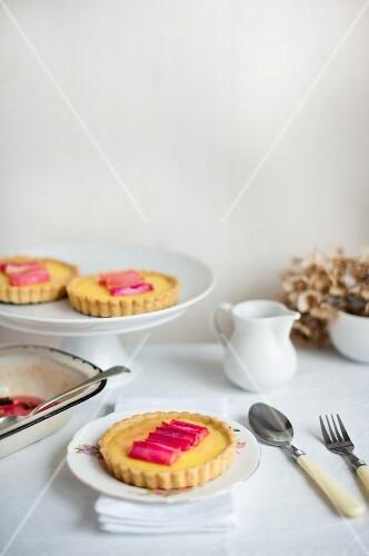 Custard tarts with rhubarb