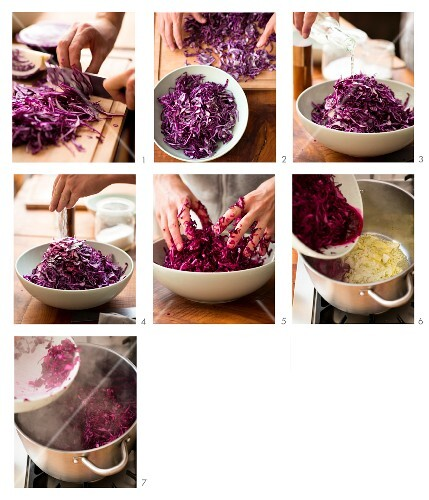 Apple red cabbage being made