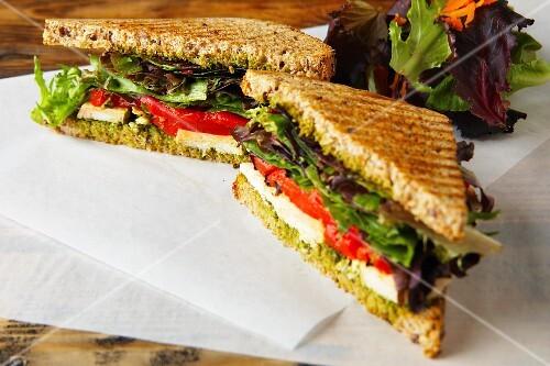 Chicken, kale and pesto sandwiches