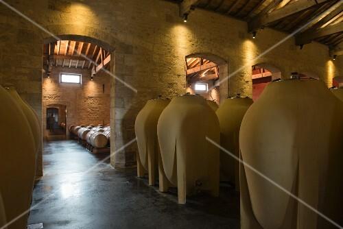Amphore in a wine cellar at Chateau Pontet-Canet (Bordeaux, France)