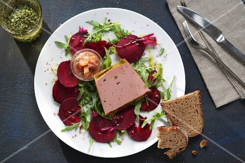 Goose liver terrine on beetroot